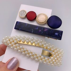 Accessories - 3 Faux Pearl Marble Hair Pin Barrette Clasp Clip